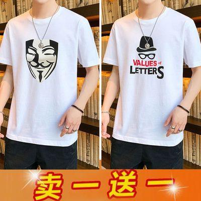 新品短袖男夏季薄款韩版圆领半袖体恤大码宽松男装上衣服男士t恤