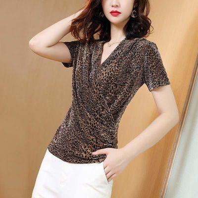 豹纹短袖女夏季新款网纱打底衫印花上衣洋气V领T恤[短袖/长袖
