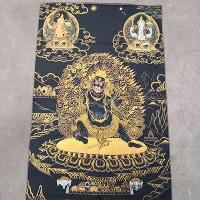 大黑天西藏佛像宗教用品尼泊尔唐卡织锦画丝绸刺绣画像条幅布