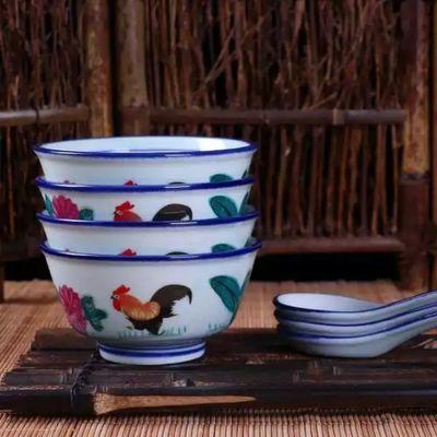 【瓷都陶瓷】碗复古怀旧老式公鸡碗新品中式家用陶瓷4.75寸吃饭碗