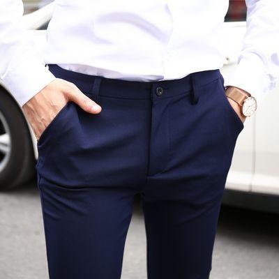 夏季薄款九分休闲裤男生韩版修身小脚裤西裤紧身青年显瘦长裤黑色