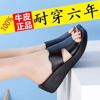 真皮凉鞋女牛皮拖鞋女时尚舒适软皮软底防滑时尚水钻缝制舒适透气