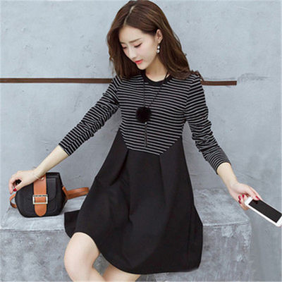 时尚款2020春季新款韩版大码黑白条纹中长款显瘦a字裙子连衣裙女