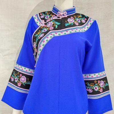 唐氏民族服饰原创设计复古连身袖修身刺绣女上衣手工盘钮扣