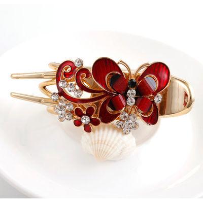 发夹女后脑勺三齿夹盘发头饰成人韩式水钻蝴蝶发夹优雅女士鸭嘴夹
