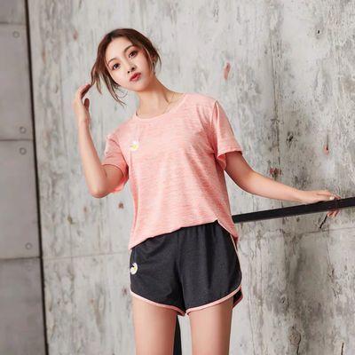新款运动套装女学生夏季休闲画画小雏菊刺绣瑜伽服薄款衣服两件套