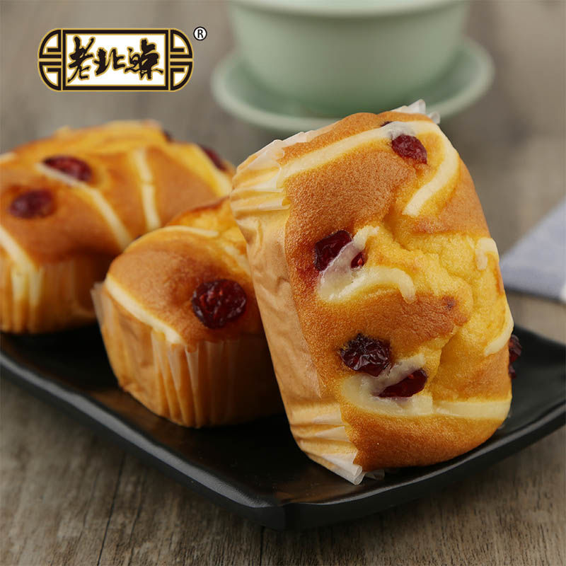 手工现做,0添加:50gx4个 老北鲸 红枣核桃/蔓越莓蛋糕