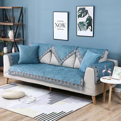新中式雪尼尔沙发垫套罩四季通用现代简约客厅蓝色实木坐垫子防滑