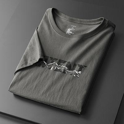 2020男装新品男士短袖100%纯棉T恤男生上衣潮流百搭夏天衣服潮牌