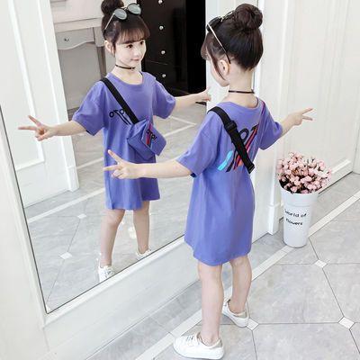 儿童T恤裙女夏季2019新款童装中大童夏装短袖韩版中长款女童半袖