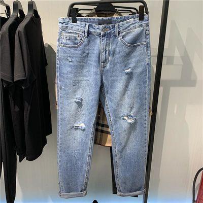 【商场同款】鸟家男装 新款浅蓝色牛仔裤磨破洞牛仔裤男B2HAA5F42