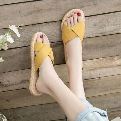 2020夏季新款外穿凉鞋时尚一字拖女平底沙滩拖罗马网红ins凉拖鞋