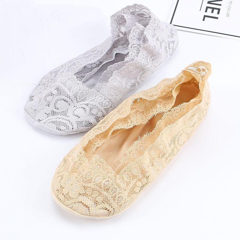 【5双装】袜子女浅口 船袜女 棉袜夏季超薄蕾丝隐形袜 丝袜女