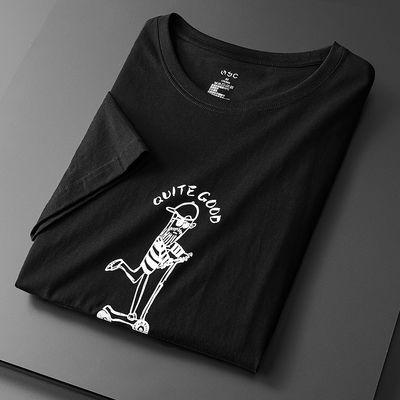 男衣服夏天印花t恤男上衣男学生韩版纯棉短袖男潮流百搭黑色t恤男