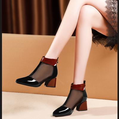 包头网纱凉靴2020春夏季新款粗跟时尚拼色短靴中跟漆皮高帮凉鞋女