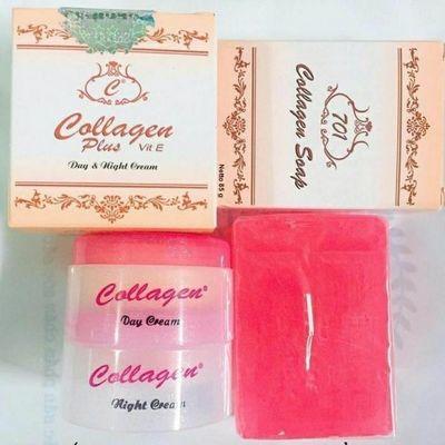 越南面霜collagen美白祛斑补水日晚霜精华液香皂四件套701