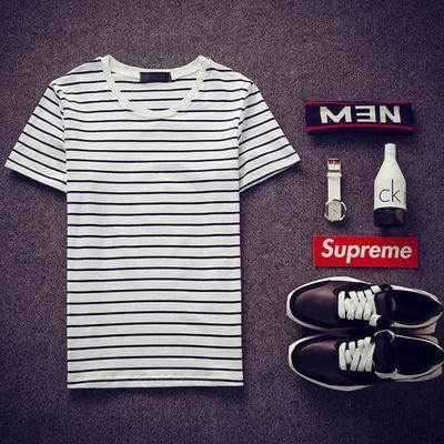 夏季boy短袖T恤男横条纹半截袖黑白体��衫夏天男装半袖卫衣修身。