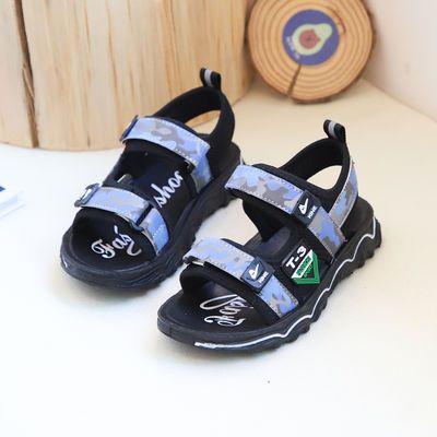 儿童凉鞋男童凉鞋2020夏季新款迷彩软底防滑学生小孩子沙滩鞋网红
