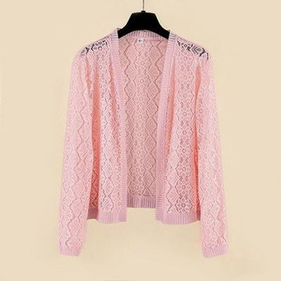 新款韩版长袖蕾丝小披肩开衫外套夏季短款坎肩大码空调衫防晒衣女