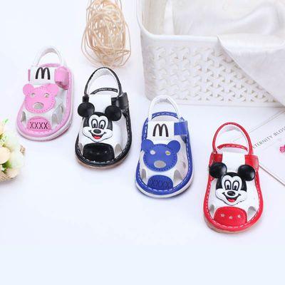 两双特惠婴儿童凉鞋夏宝宝学步鞋防滑软底0-1-2岁春男女叫叫鞋