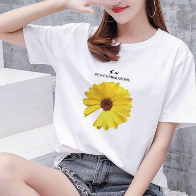 2020新款夏装短袖女白色t恤韩版修身大码宽松字母印花圆领半袖潮