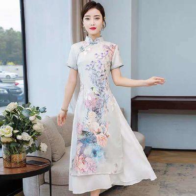 2020夏季新款改良旗袍在此刻连衣裙中国风优雅复古修身显瘦裙子女