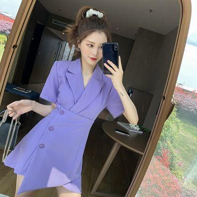 大码女夏装小个子设计感西装领裙子女胖妹妹收腰显瘦不规则连衣裙