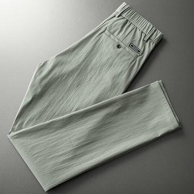 夏季薄款休闲裤男直筒潮流松紧腰长裤男士2020新款修身小西裤韩版