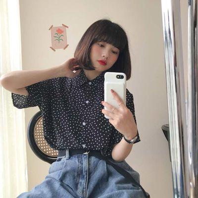 FREE VALLEY  韩版ins风纯色百搭显瘦学生波点衬衫衬衣女