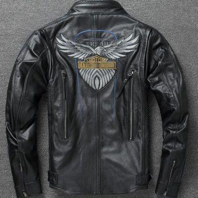 115周年哈雷皮衣 男 加肥加大头层牛皮皮衣 机车真皮夹克摩托车服