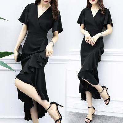 连衣裙女夏2020新款黑色雪纺不规则时尚长裙气质V领显瘦鱼尾裙子