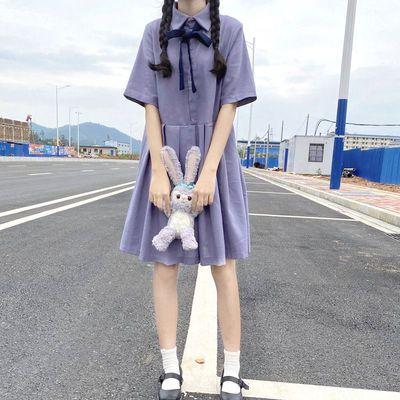 夏季超仙紫色连衣裙2020新款含棉POLO领纯色减龄日系短袖百褶裙子
