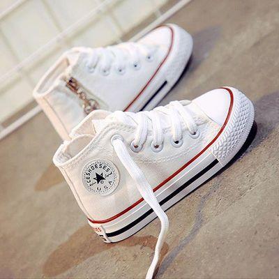 儿童帆布鞋高帮女童鞋子2020春季新款小白鞋男童板鞋小学生白球鞋