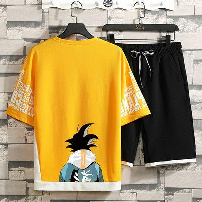 2020新款青少年夏季套装日系宽松版五分袖t恤套装男学生休闲套装—品牌女装网