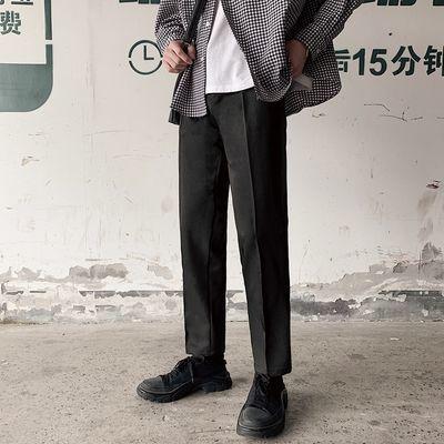 裤子男韩版潮流九分西裤男士修身春夏季薄款小脚西装宽松休闲长裤