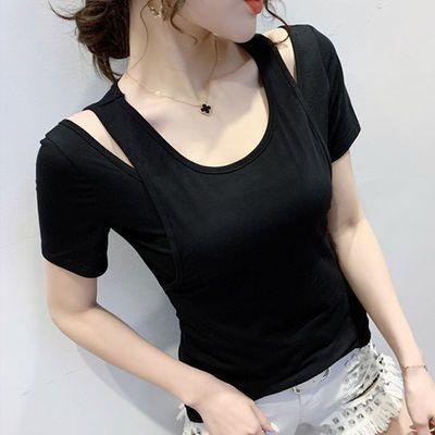 露肩上衣女2020夏装新款短袖t恤欧洲站洋气小衫半袖设计感小众潮T