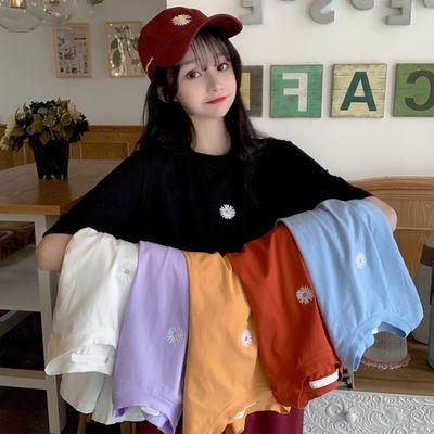 实拍实价新款韩版宽松打底衫紫色上衣小雏菊短袖T恤女网红ins超火