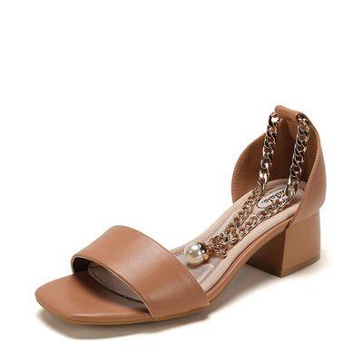 shoebox鞋柜女鞋子女凉鞋优雅方头时尚休闲珍珠链条凉鞋百搭通勤