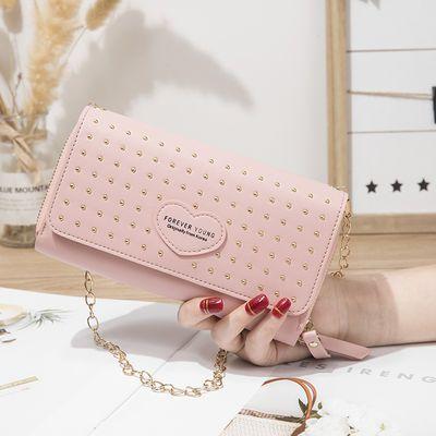 新款双层铆钉钱包长款韩版拉链大容量钱夹女士手拿网红手包背包邮