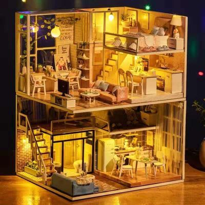 diy小屋可爱少女心粉色公主房娃娃屋创意玩具圣诞节生日礼物女生