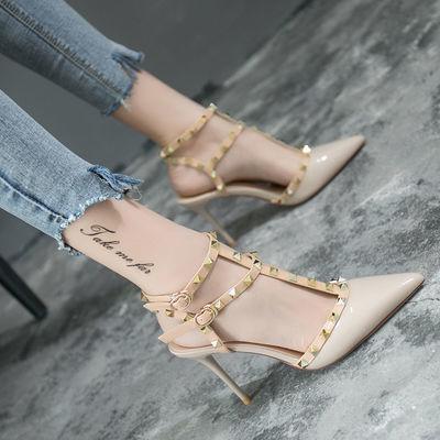 高跟鞋女细跟凉鞋欧美性感铆钉包头单鞋一字扣绑带尖头超高跟女鞋