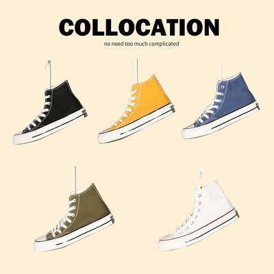 1970S帆布鞋高帮情侣鞋男鞋玫红女鞋运动低帮经典鞋ins学生滑板鞋