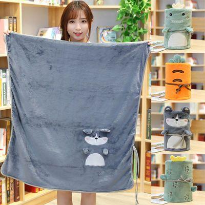 夏季薄款盖腿毛巾空调毯午睡小毯子办公室学生沙发小被子卷毯可爱