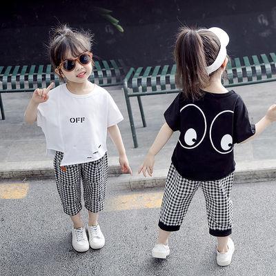 【特价清仓】童装女童套装夏装洋气宝宝时尚韩版小女孩夏季衣服短