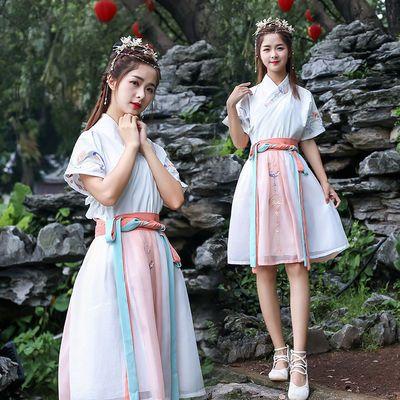 超仙女古装汉服夏季交领刺绣花短袖短裙服务员古风套装古典班服装