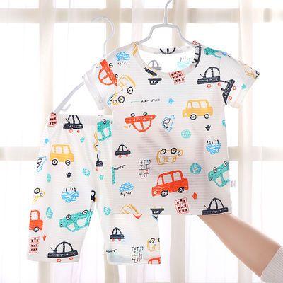 新款儿童短袖套装%100纯棉冰丝棉空调服家居服睡衣男童女童半袖