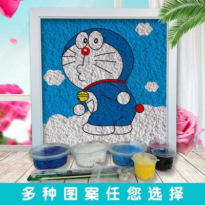 哆啦A梦列系纸浆画手工diy材料包 礼物创意手工制作立体画 30X30