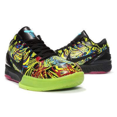 科比4代篮球鞋KOBE4低帮运动鞋男防滑黑曼巴涂鸦复刻季后赛庭紫色