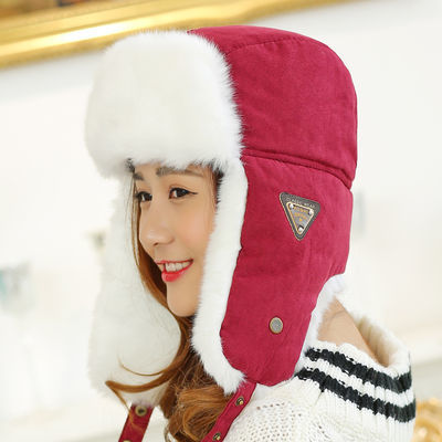 帽子女士冬天可爱学生百搭加绒保暖韩版护耳雷锋帽加厚防风防寒帽