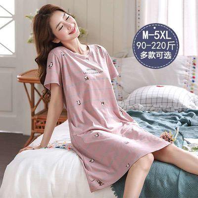 36989/5XL加肥加大睡裙女夏季短袖女士棉质睡衣韩版夏天宽松大码家居服